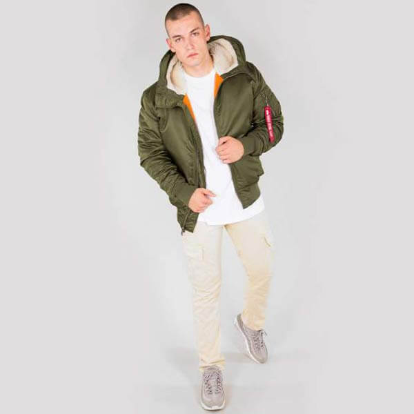 Alpha Industries MA 1 Hooded Jacket Dark Green