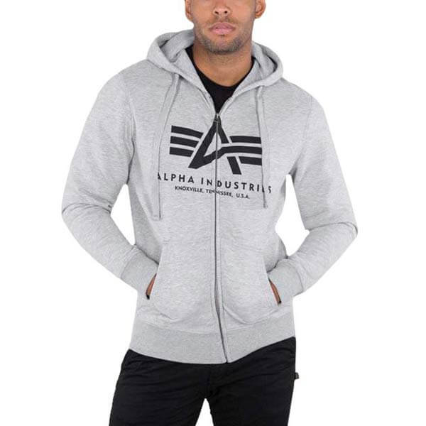 Herren Sweatshirt Alpha Industries Basic Zip Hoody Grey ... 66cafa2f30a