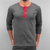 Cazzy Clang Button Tape Longsleeve Grey/Red