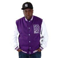 Hoodboyz Left Side HB Logo Contrast College Jacket Purple White