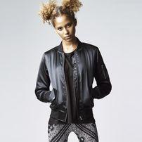 Urban Classics Ladies Satin Bomber Jacket black